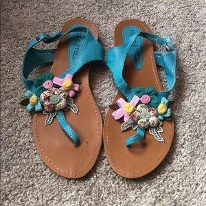 Modcloth Blue Floral Sandals